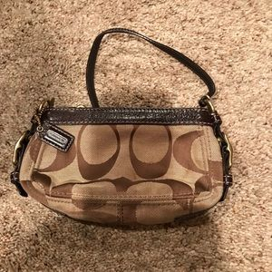 Coach Brown Wristlet Signature Series Gently Used